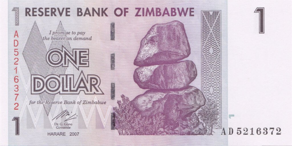 Bank of Zimbabwe One Dollar in 2007