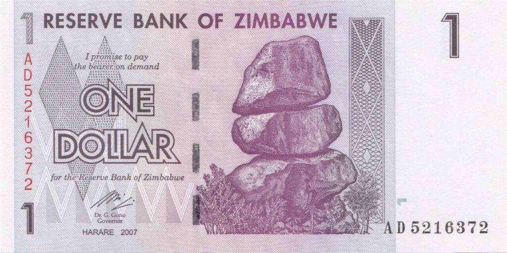 Bank of Zimbabwe One Dollar in 2007