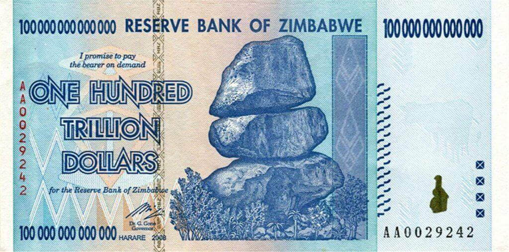 Bank of Zimbabwe One Hundred Trillion Dollars in 2008