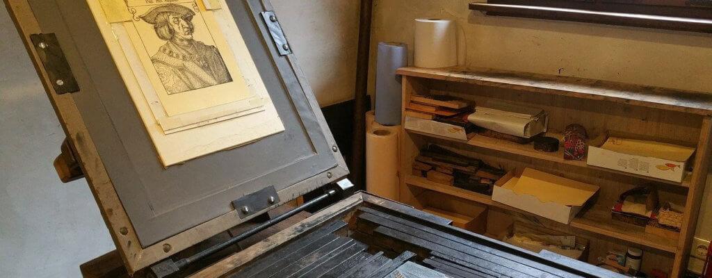 Mittelalterliche Druckerpresse Dürer